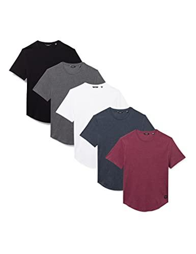 Only & Sons ONSMATT Life LONGY SS tee 5-Pack Camiseta, White/Pack:1dgm 1dark bluemel 1white 1cabernetmel 1black, M para Hombre