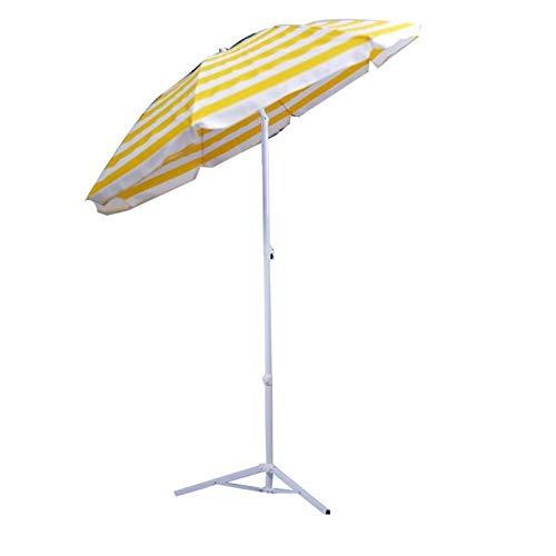 KUWD Sombrilla de Playa para Jardín, Parasol Paragauas Redonda, con Función de Inclinación, Protección Solar contra la Lluvia Ligera, para Exteriores, Patio, Pesca, 1.6M, Amarillo, Rojo, Azul