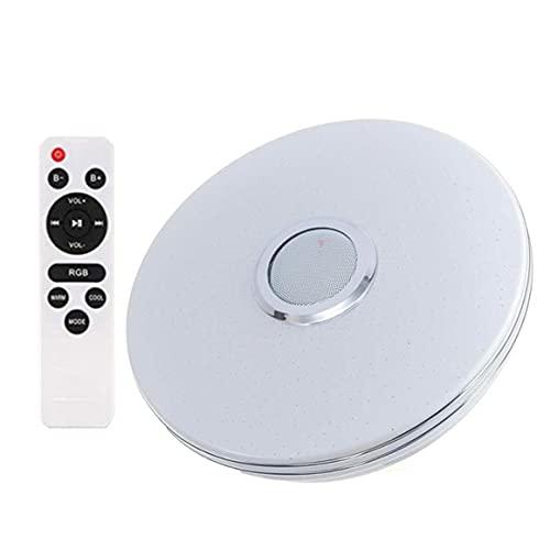 KoelrMsd 34cm Doble Cable Plateado aplicación Colorida 36w + música inalámbrica + Control Remoto infrarrojo lámpara de Techo de Brillo Ajustable