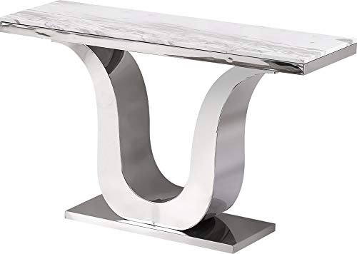 Best Quality Furniture Console Table Only Only, White, Silver