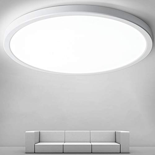 Flush Mount Ceiling Light, Round 24W 12 Inch 5000K Modern Ceiling Lamps, LED Light Fixtures Ceiling Mount, Close to Ceiling Lights for Bedroom Kitchen Laundry Room Hallway Lighting Fixtures Ceiling