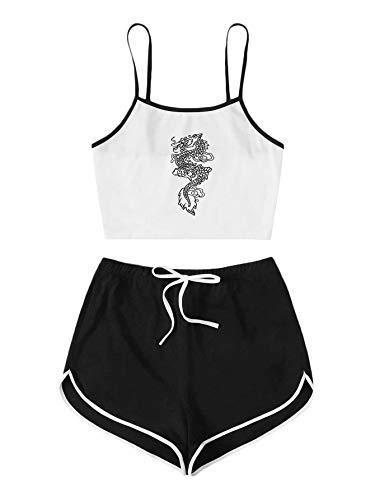 SOLY HUX Conjunto de pantalones cortos y tops de 2 piezas para mujer, parte superior de la barriga, pantalones cortos, traje de casa, conjunto de 2 piezas Dragón Blanco Negro L
