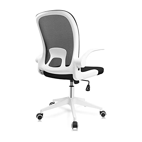 JAJALUYA Office Chair Ergonomic Desk Chair with Flip-up Armrests Comfortable Swivel Computer Chair with Lumbar Support and Adjustable Height Task Chair for Office Conference Room