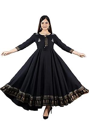Neemiya Women's Rayon Embroidered Anarkali Kurta|Gown for Women|Flared Kurta for Women