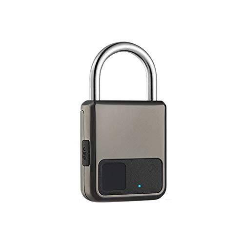 LTJX Candado de Huella Digital, Mini Candado Carga USB Candado Antirrobo 20 Juegos de Huellas Digitales Candado de Puerta Cerradura Cifrado Cerradura Electronica