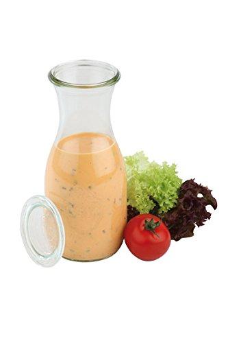 6 x Weck®-Flasche + 6 Deckel, ideal zum Servieren von Saft, Smoothie, Dressing und Saucen, spülmaschinengeeignet/Inhalt: 0,5 ltr. | SUN