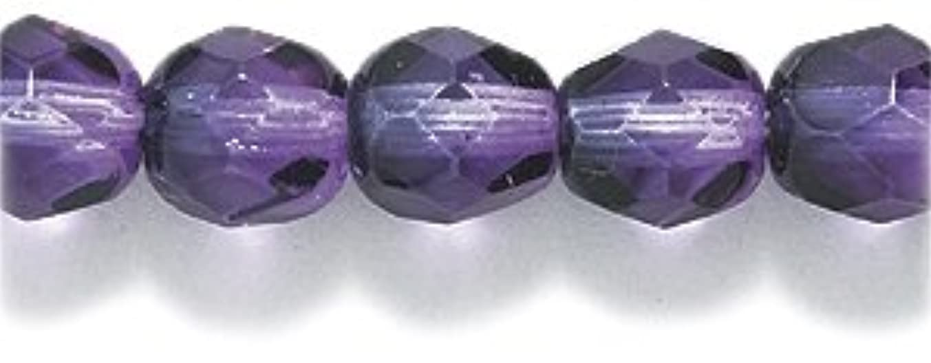 Preciosa Czech Fire 6 mm Faceted Round Polished Glass Bead, 2-Tone Fuchsia/Amethyst, 100-Pack