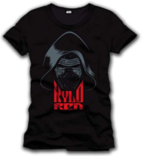 Meroncourt Star Wars VII Force Awakens Kylo Ren Mask T-shirt voor heren, zwart, klein