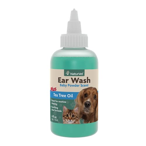 NaturVet Pet Ear Wash Plus Aloe and Tea Tree Oil for Dogs and Cats,...