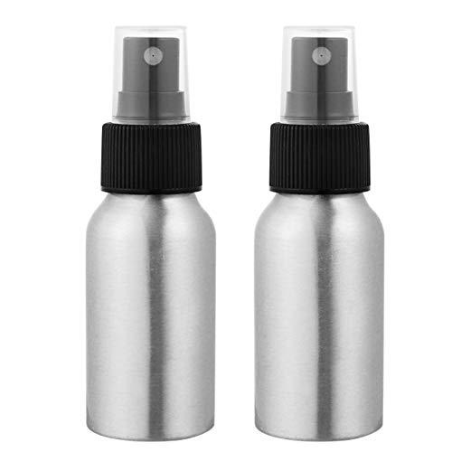FRCOLOR 2 Piezas Botella de Spray Atomizador Atomizador de Botella Botella de Spray de Niebla de Aluminio Vacía Pulverizador de Agua Recargable Vacía para Viajar a Casa (50 Ml de Plata)