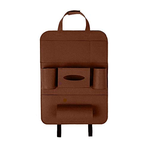 kaige Tissue Box Holder Styling Multi Pocket Accessory Travel Car Storage Bag Tablet Backseat Protector Seat Back Hanging Organizer WKY (Color : Brown)