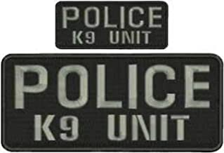 Police K9 Unit Embroidery Patches 4X10 and 2X5 Hook ON Back Letters in Grey by HighQ Store