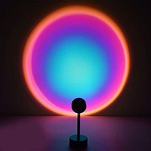 Lámpara De Proyector Sol Atardecer Proyector De Luz Nocturna Lámpara De Proyección LED De 180 Grados para Fiestas En Sala De Estar Dormitorio Sala De Estudio,Rainbow