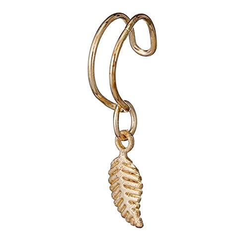 SMEJS - Clips de oreja falsos con estilo, colgante de hoja, pendiente sin perforaciones, aretes con clip, pendientes para hombres y mujeres, aro para orejas, joyería con bucle para orejas, aretes