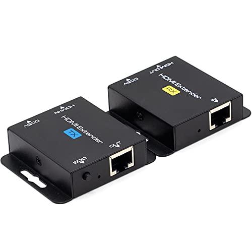 Ozvavzk HDMI Extender 60m HDMI Extensor 1080P a 60Hz HDMI Repetidor Convertidor de Red Ethernet sobre Single RJ45 Cat5e/6/7 Cables para PC DVD Sky HD Box PS3/4 Caja Satelital y Más Dispositivos