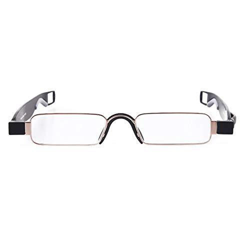 Qiuge Gafas de lectura, Pie de primavera metálica Portátil Portátil Portátil de 360 grados Hombres y mujeres Fatiga y protección contra el dolor de cabeza con la suspensión de la pluma + 1.00D QiuGe