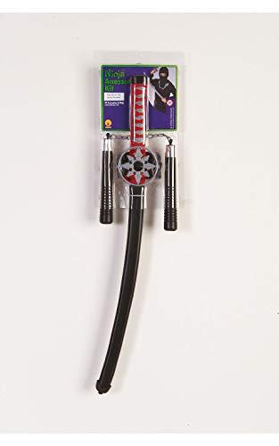 Rubie's 38299NS Offizielles Ninja Set inkl. Hood & Plastic Schwert Dolch Spielzeug-Waffen-Set, für Jungen, Mehrfarbig, Einheitsgröße