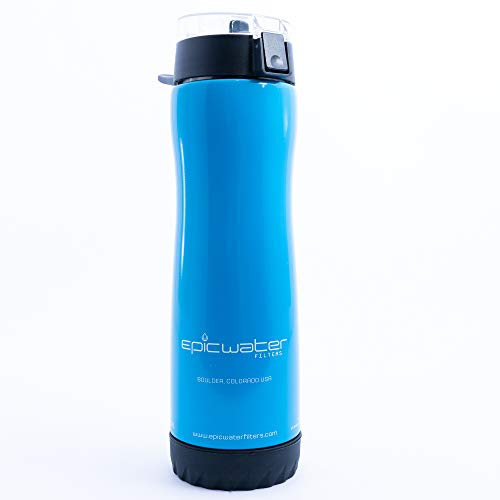 The Outback | Stainless Steel Water Bottle with 1 Urban Filter for Everyday Use | Removes Lead, Fluoride and 99.9% of Tap Water Contaminants | 27 oz | Pacific Blue