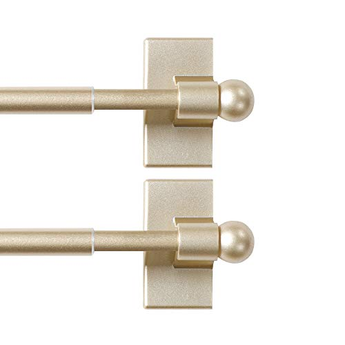 H.VERSAILTEX Magnetic Curtain Rods for Metal Doors Top and Bottom Set of 2 Multi-Use Adjustable Appliances for Iron and Steel Place, Petite Ball Ends, 9 to 16 Inch, 1/2 Inch Diameter, Black