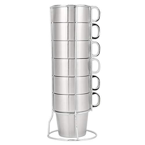 Juego de 6 tazas de café de acero inoxidable de 300 ml, taza de té de leche de agua anti-escaldado de doble capa con soporte de taza para té de la tarde Brunch Camping