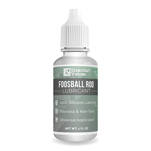 Essential Values Foosball Rod Lubricant - Authentic Foosball Silicone for Foosball Table Rods - 100% Silicone Lube with Applicator Tip - Clean and Easy to Use Foosball Table Accessories