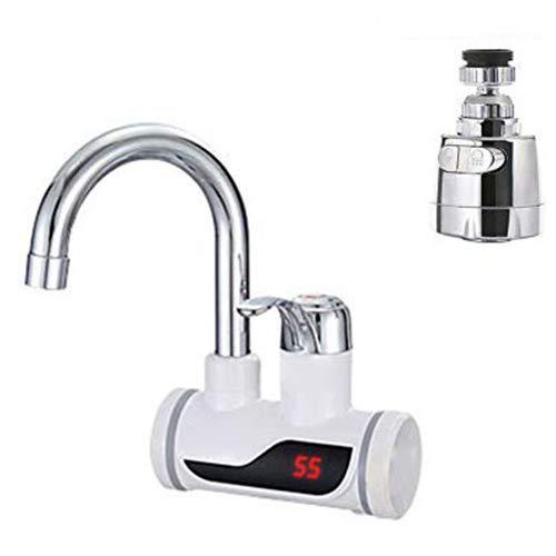 Schnelle Elektrische Warmwasserbereiter(Seitenwasseranschluss), 3000W LED Temperaturanzeige Elektrische Wasserhahn Durchlauferhitzer Heizung Wasserhahn für Küche Bad(inkl.Wasserhahn Luftsprudler)