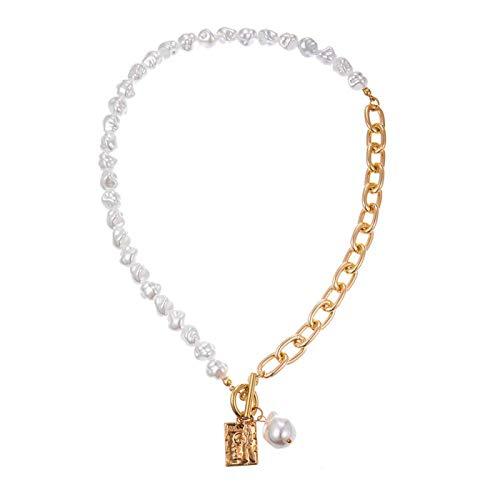 ZYLL Vintage Barroco Irregular Pearl Lock Cadenas Collar Collares geométricos de Amor con Colgante de Aangel para Mujer, joyería Punk