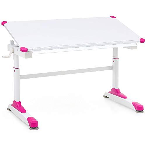 FineBuy Design Kinderschreibtisch FB13829 Holz 119 x 67 cm Pink/Weiß Maltisch | Neigbarer Mädchen Schülerschreibtisch | Höhenverstellbarer Kinder - Schreibtisch | Kindertisch Tischgestell Metall