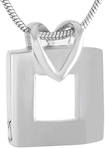 TYBM Collares para Mujer Collar con Colgante De Hombre Y Colgante Cuadrado Conmemorativo De Acero Inoxidable Gris