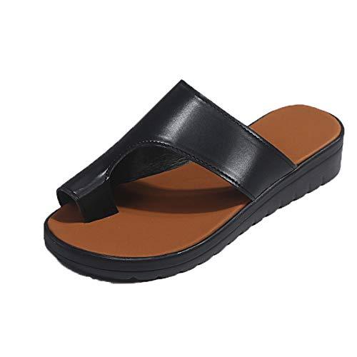 Zapatillas De Playa Negras De Talla Grande Para Mujer Chanclas Para Mujer Primavera Y Verano De Mujer Color Sólido Sandalias Con Punta Para Mujer Zapatos Para Caminar