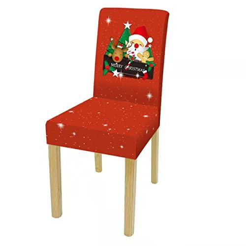 Oukeep Serie Navideña Funda para Silla Impresa Sala De Estar En El Hogar Decoración del Dormitorio del Hotel Funda para Silla Disponible Día De Navidad Decoración Roja Y Verde Funda para Silla