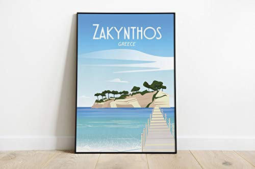 Póster de viaje vintage de Zakynthos Grecia sin marco, cita motivacional, decoración del hogar