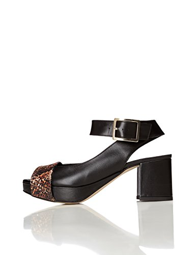 find. Damen Sandalen aus Leder, Schwarz (Black), 38 EU