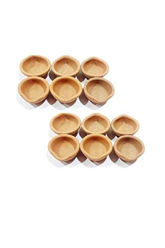 JX2 Clay Diya - Lámparas de aceite de arcilla de tierra, hechas a mano, para regalos, decoraciones, festivales, templos, paquete de mechas, bati (12 unidades)