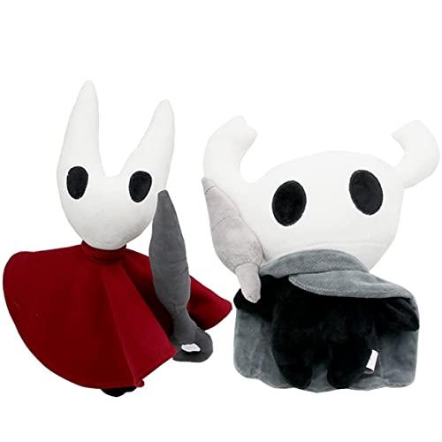 YTATY Juego Hollow Knight Almohadas de felpa Juguetes de felpa Hornet y Caballero Hueco Peluche Muñeca de peluche, Cojín de almohada de felpa fantasma para regalo de colección de decoración (A+B)