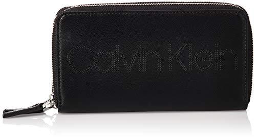 Calvin Klein Damen Punched Lrg Dbl Ziparound Geldbörse, Schwarz (Black), 12x5x20 centimeters