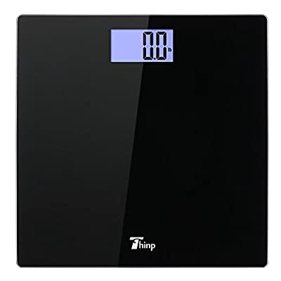 thinp Digital Bathroom Scales with App Intelligent Bluetooth Function Analyser Body Weight, Fat and viscérale, Muscle and Bone Mass BMI BMR–, Black from Thinp