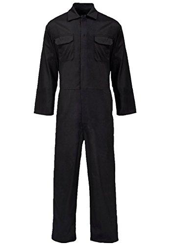 Islander Fashions Herren Langarm Popper Front Overall Insgesamt Erwachsene Arbeitskleidung Mechaniker Boilersuit Schwarz Mittel
