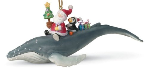 Cape Shore Santa Riding Humpback Whale Tropical Christmas Ornament Resin