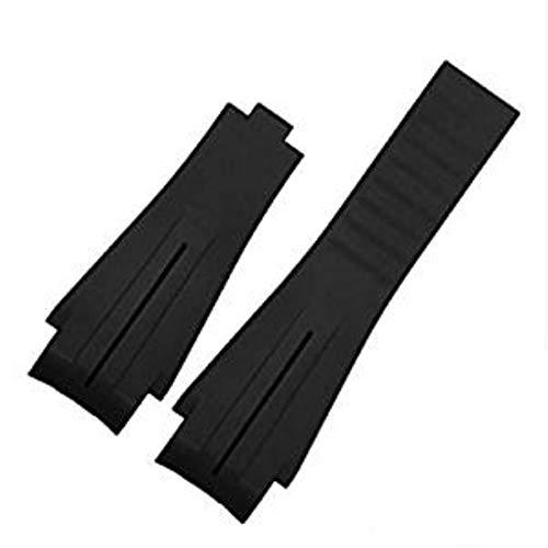 Richie Strap, Cinturino in gomma nera da 21 mm, con fibbia in silicone, per Rolex Yacht Master Oysterflex, Nero (senza fibbia), Cinturino