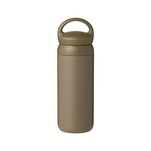 Kinto Reisebecher 500 ml, Wasserflasche, vakuumisolierte Thermosflasche, Sportflasche khaki
