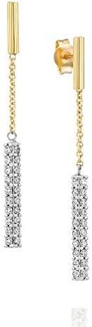 14k Gold Drop Earrings With Studded Cubic Zircon Gemstones, Long Dangle Chain Earrings, Two Tone Long Drop Earrings, Chain Link Earrings, Mother's Day Gift (3.6 g, 1.8 in)