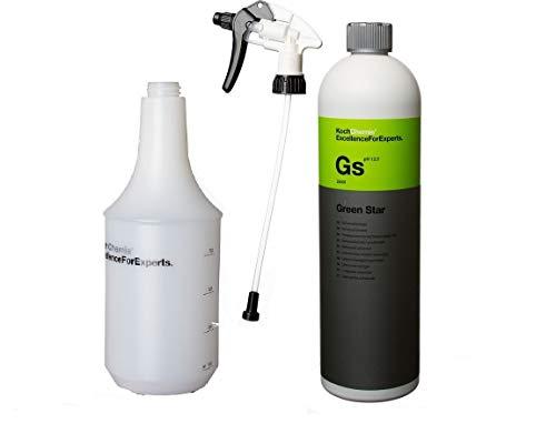 Koch Chemie GREEN STAR Universalreiniger 1000ml und Inkl. Sprühkopf Star & Zylinderflasche 1 l für Sprühkopf Star