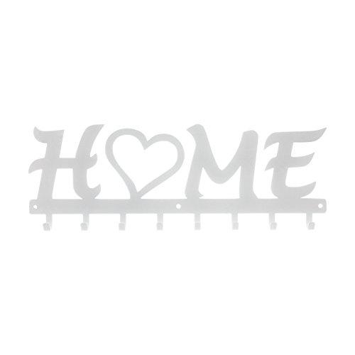 Porte-manteau Home Plaque en métal Blanc en acier 8 crochets solide touches de cuisine Design Grand chaud V?tements Chapeaux parapluies Cintre salle d'attente Porte-manteaux | par semax