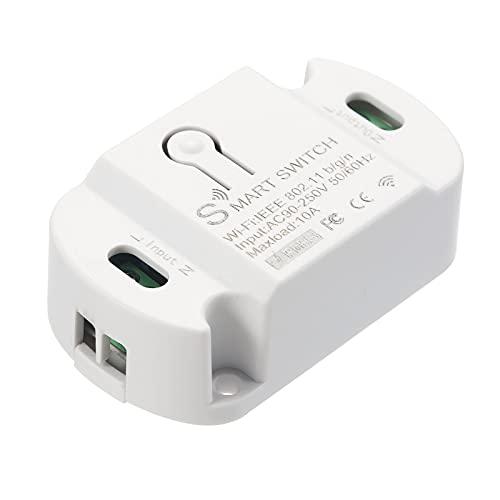 Interruptor Inteligente WiFi Compatible con Amazon Alexa y Google Home Timer 10A / 2200W Interruptor Remoto inalámbrico para Android/iOS App Control para electrodomésticos Módulo Universal de