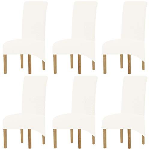XIANYU Fundas Elásticas Extraíbles Y Lavables para Sillas De Comedor Fundas Elásticas para Sillas Fundas para Sillas Fundas para Sillas Parsons para Comedor (Blanco,Set of 6(XL))