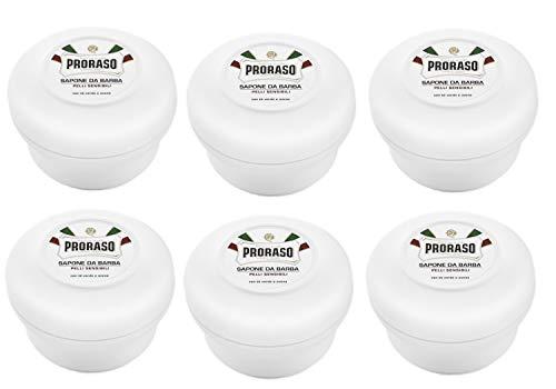 Jabon de afeitar Proraso, 6 unidades en envases de 150ml, te verde, para pieles sensibles, calmante, color blanco
