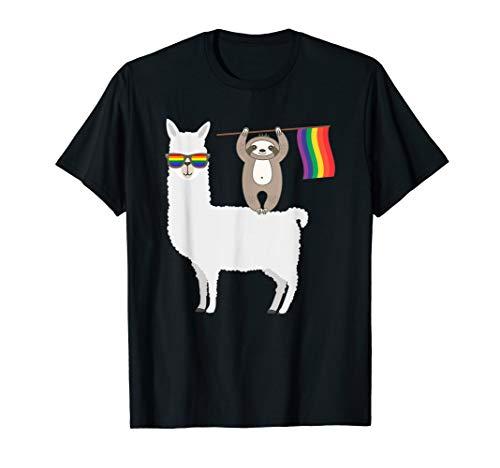 LGBT Sloth Riding A Llama Gay Pride Lesbian Rainbow T-Shirt