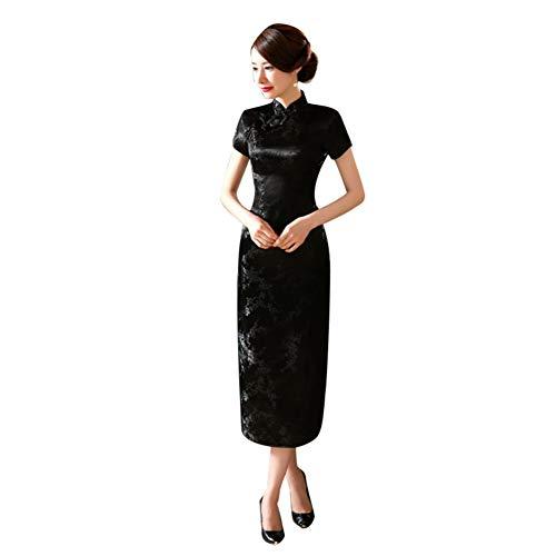 Kalaokei manga corta impreso dragón y fénix largo cheongsam chino tradicional mujeres largo cheongsam dama de honor manga corta vestido de noche negro 1 XXXL