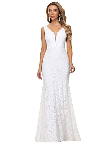 Ever-Pretty Women's Sexy V Neck Floor Length Lace Mermaid Wedding Dresses for Bride White 28UK